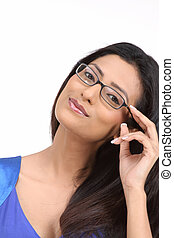 young brunette with eyeglasses - Happy young brunette with...
