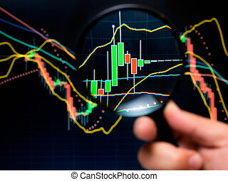 Stock analysis - Magnifier and graph, basic tools of...