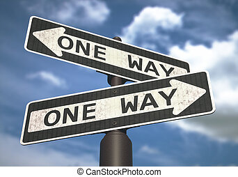 One Way Sign - Conceptual image of one-way sign with cloud...