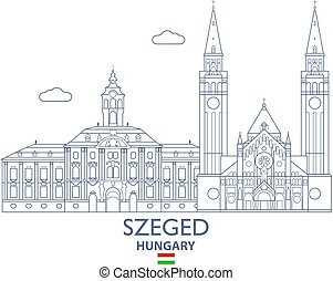 Szeged City Skyline, Hungary - Szeged Linear City Skyline,...