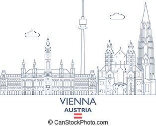 Vienna City Skyline, Austria - Vienna Linear City Skyline,...