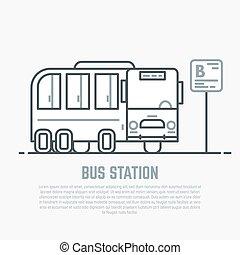 Bus station line illustration - Bus station. Sign of bus...
