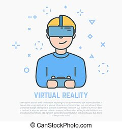 VR headset and male - VR headset. Happy man playing video...