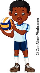 kids playing volleyball - illustration of kids playing...