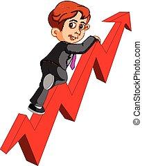businessman on arrow graph