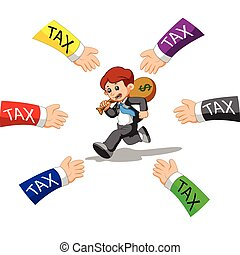 businessman running away from tax - illustration of...