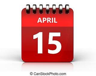 3d 15 april calendar - 3d illustration of april 15 calendar...