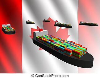 Canadian export with container ships illustration