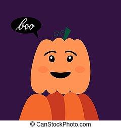 Halloween pumpkin with inscription boo. - Halloween kawaii...