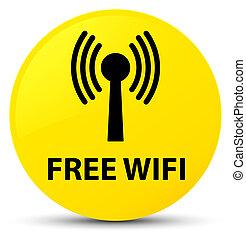 Free wifi (wlan network) yellow round button - Free wifi...