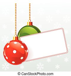 Blank  label with Christmas decorat