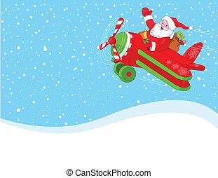 Santa is flying in an airplane - Cartoon illustration of...