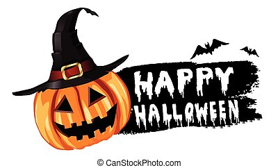 Halloween pumpkin label sticker with white bloody letters on...