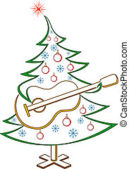 sapin, guitare, pictogramme