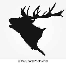silhouette of the buck's head - simple black silhouette of...