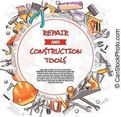 Vector sketch poster of home repair work tools - Repair and...