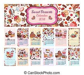 Bakery shop vector dessets calendar 2018 - Desserts calendar...