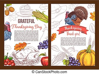 Thanksgiving day vector sketch greeting poster -...