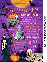 Halloween holiday trick or treating poster design -...