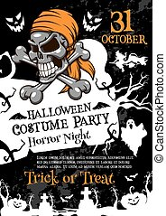 Halloween horror party poster with spooky skull - Halloween...