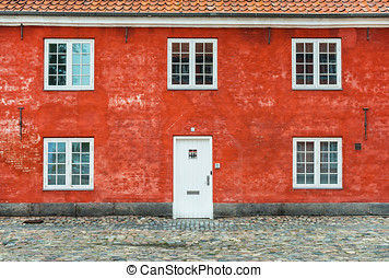 Old red house with white windows and door, Kastellet,...