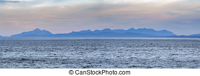 View from a beach in Big sands in Highland Scotland of the...
