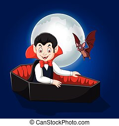 Cartoon happy vampire in his coffin - Vector illustration of...