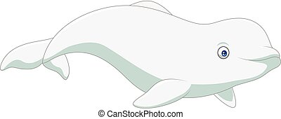 Cartoon beluga isolated on white background - Vector...