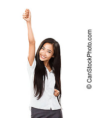 Asian young woman rejoices at her success or victory. Casual...