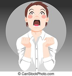 Desperate Person Screaming - Angry stressed desperate person...
