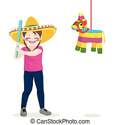 Girl Piñata - Young little girl holding stick trying to...