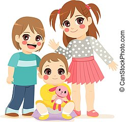 Cute Siblings - Illustration of siblings family with small...