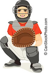 Baseball Catcher - Young baseball catcher player on...