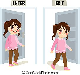 Girl Enter Exit Door - Little girl enter and exit door...