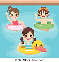 Children Inflatable Swimming - Three cute little children...