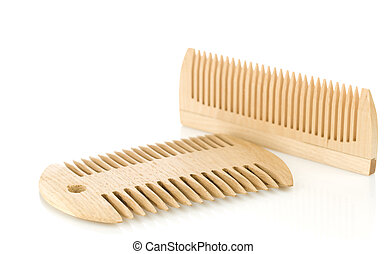 isolated wooden combs