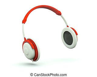 Headphone icon isolated on white. Red series