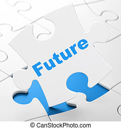 Time concept: Future on puzzle background