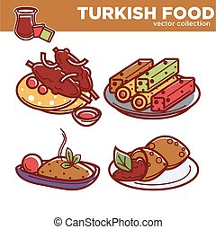 Exotic Turkish food vector collection with dishes on plates...