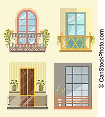 Wide windows with small cozy balcony in several styles with...