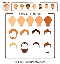 Man constructor with face and hair samples set - Man...