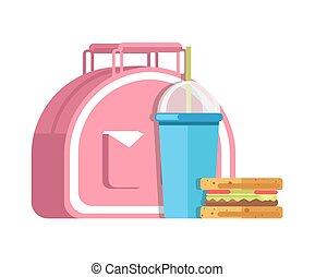 School lunch meal box breakfast snadwich and milkshake drink...