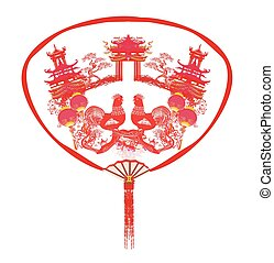 Decorative opened fan with patterns of Year of rooster...