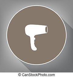 Hair Dryer sign. Vector. White icon on brown circle with white contour and long shadow at gray background. Like top view on postament.