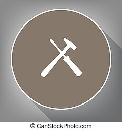 Tools sign illustration. Vector. White icon on brown circle...