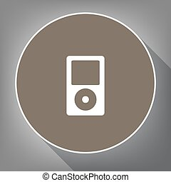 Portable music device. Vector. White icon on brown circle...