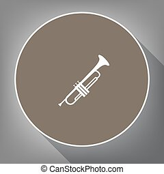 Musical instrument Trumpet sign. Vector. White icon on brown...
