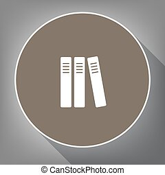 Row of binders, office folders icon. Vector. White icon on...
