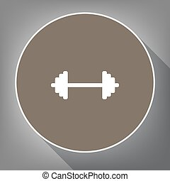 Dumbbell weights sign. Vector. White icon on brown circle...