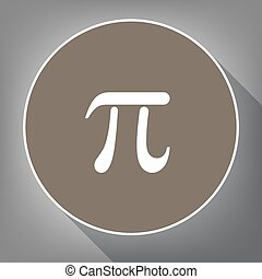 Pi greek letter sign. Vector. White icon on brown circle...